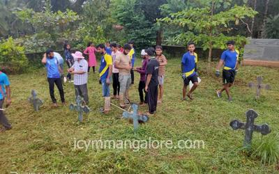 ICYM Madanthyar Unit organises 'Shramadhan', Cleans Cemetery